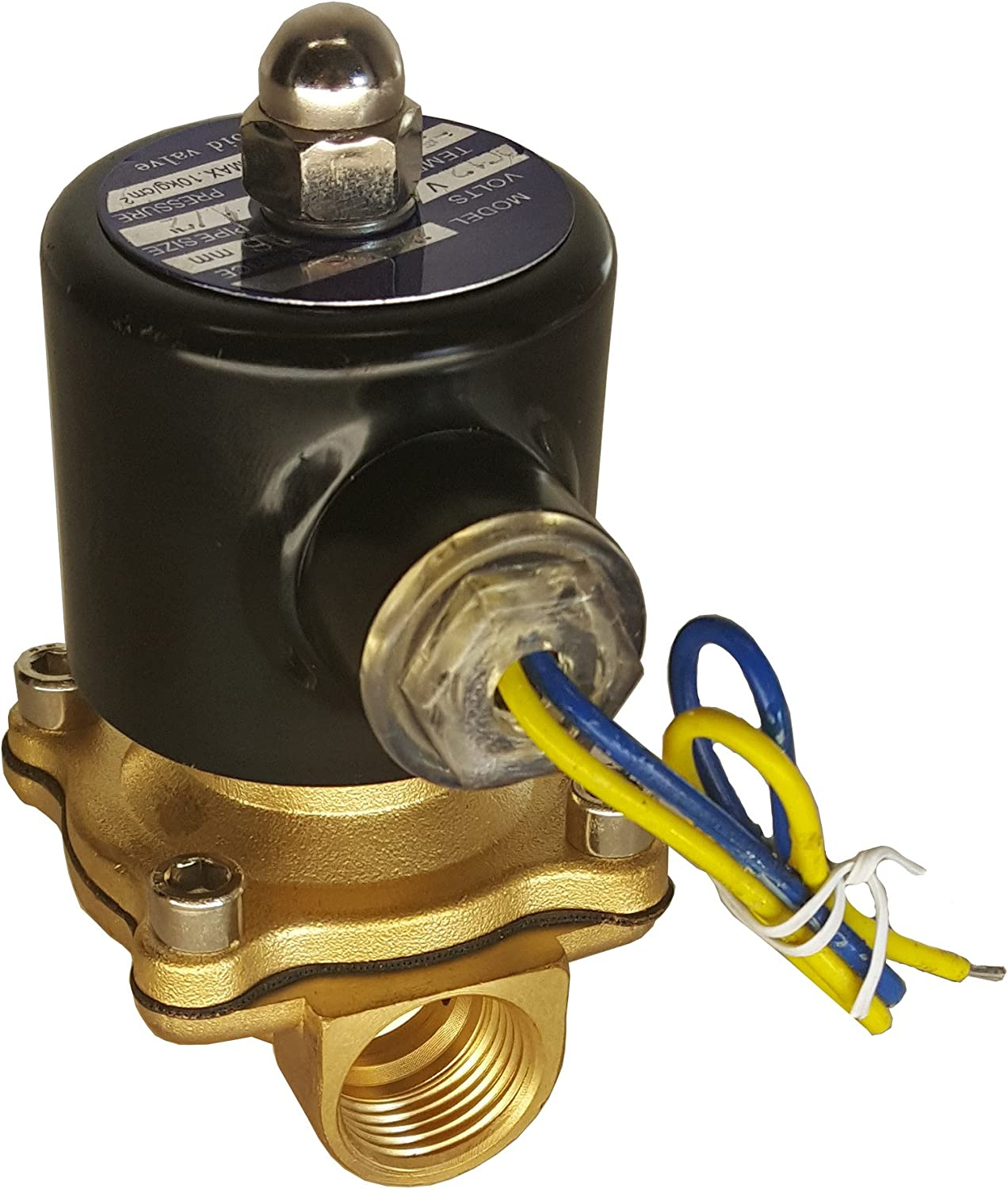 """HFS 110v Ac or 12v Dc Electric Solenoid Valve Water Air Gas, Fuels N/c - 1/4"""", 1/2"""", 3/4"""", 1"""" NPT Available (110V AC 3/4"""" NPT)"""