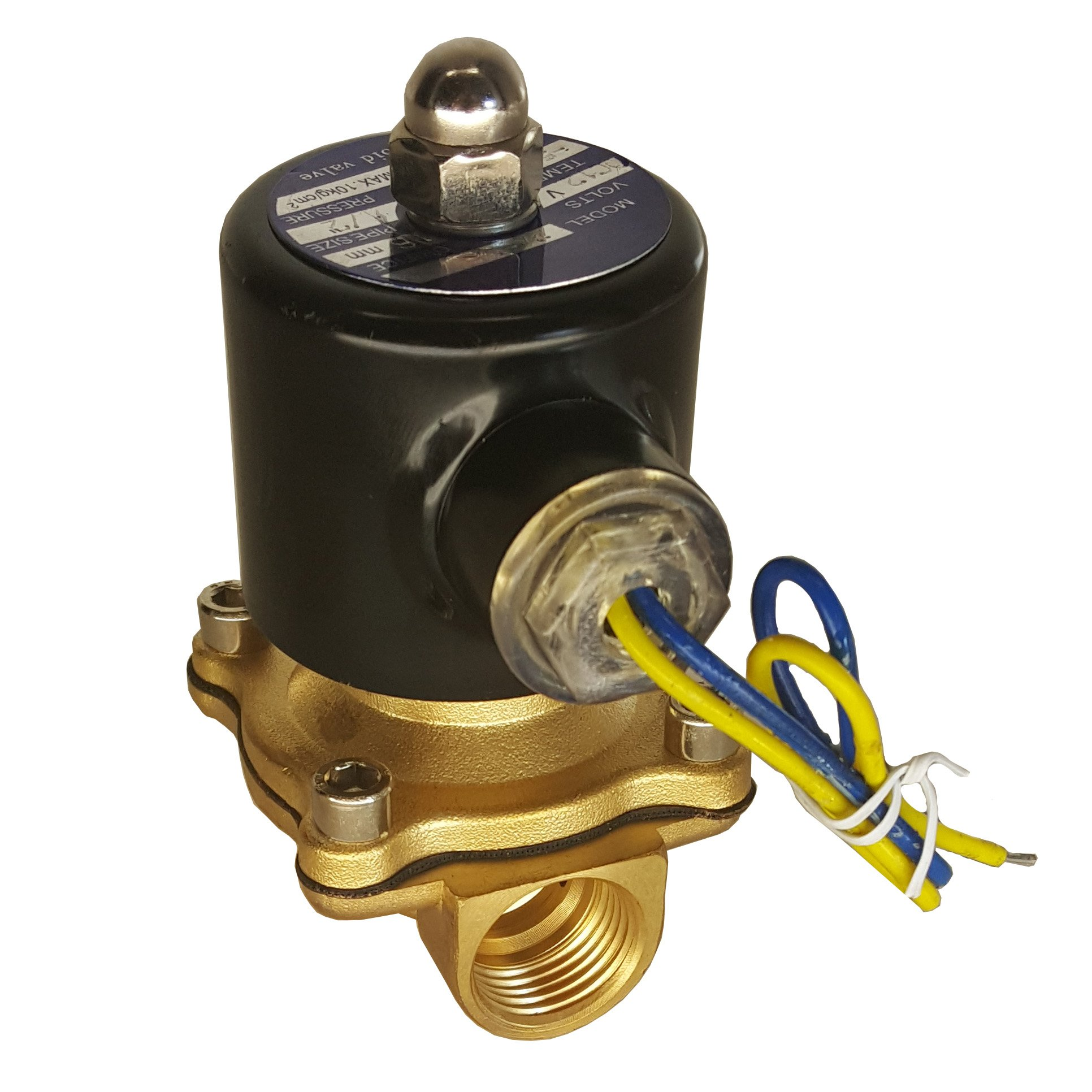 HFS 110v Ac or 12v Dc Electric Solenoid Valve Water Air 1/4'', 1/2'', 3/4'', 1'' NPT Available (12V DC 1/2'' NPT) by HFS