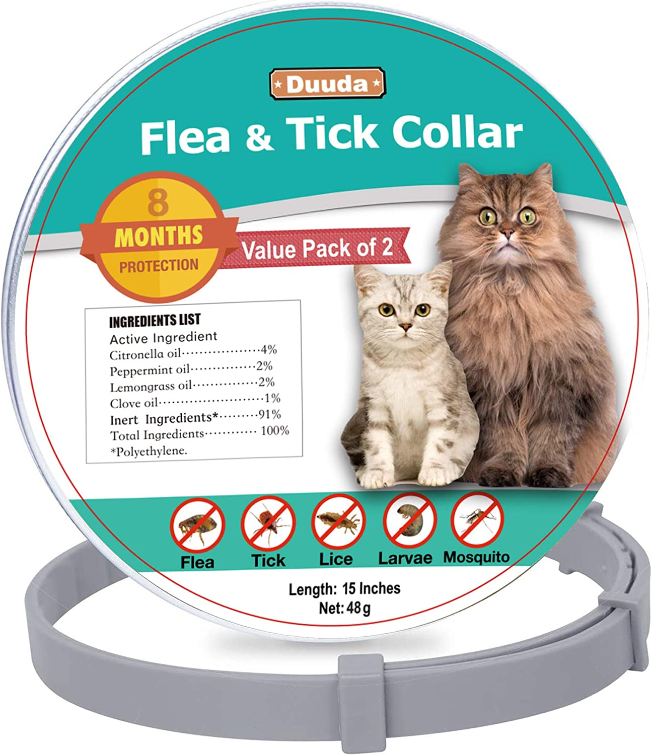 Duuda Flea and Tick Collar for Cats Waterproof and 100/% Natural Essential Oil Extract 8 Months Continuous Protection and Prevention