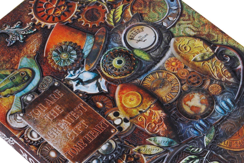 Vintage Journal Intime Classique Note Book Relief Agenda de Housse Cuir Carnet de Notes Lign/é A5 Carnet Secret Journal Voyage Cadeau de Rentr/ée l/école