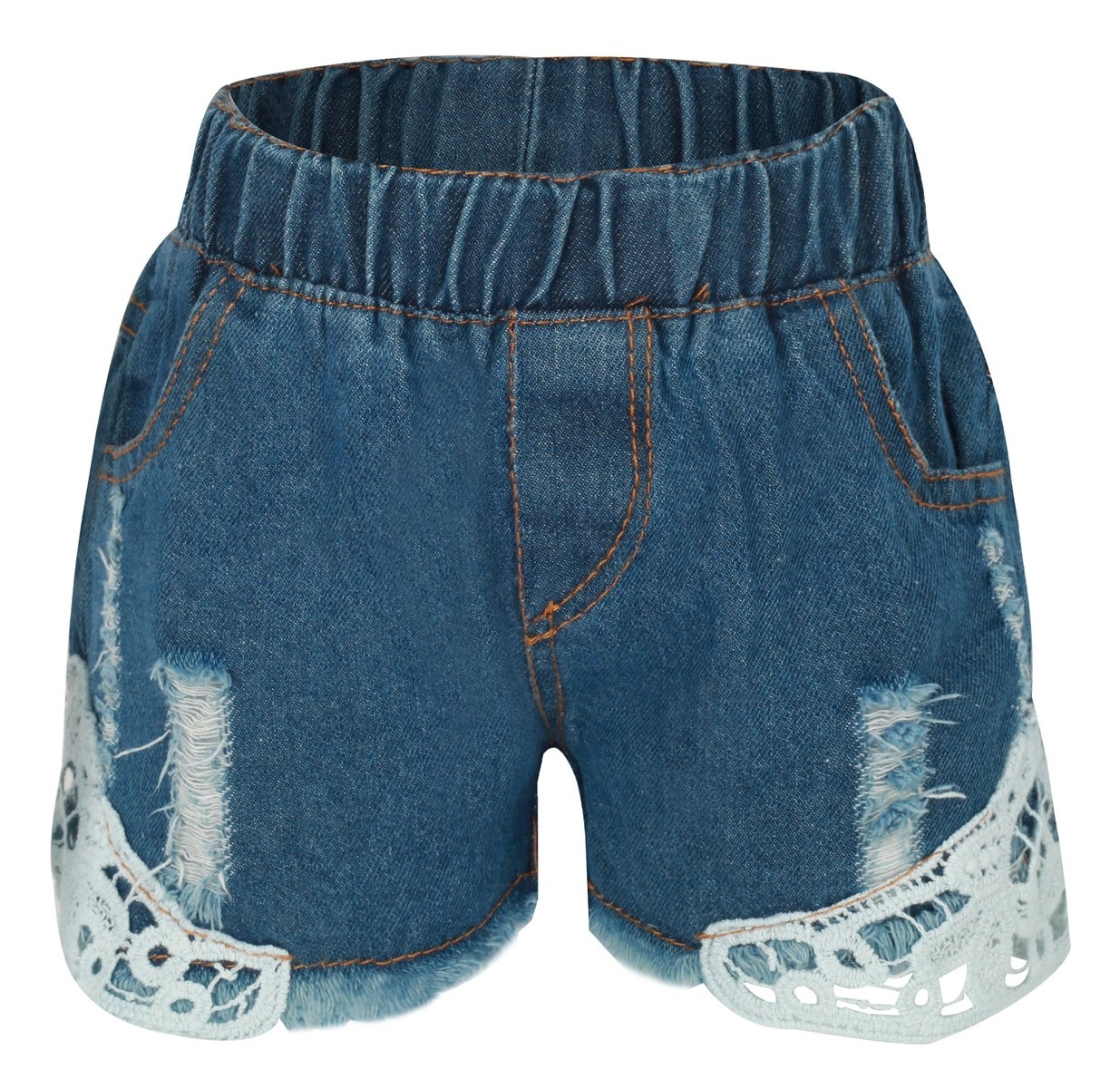 Betusline Kids Girls Ripped Holes Jeans Denim Short With Lace Blue,7 Years