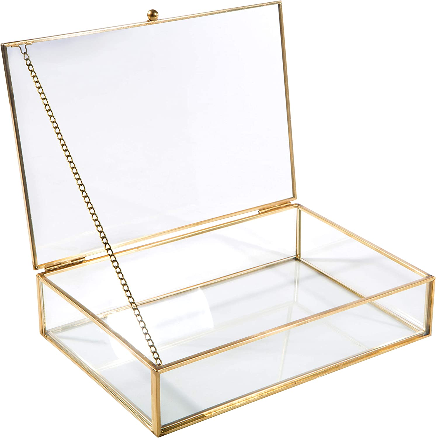 Home Details Vintage Mirrored Bottom Glass Keepsake Box Jewelry Organizer Decorative Accent Vanity Wedding Bridal Party Gift Candy Table Décor Jars Boxes Gold Home Kitchen