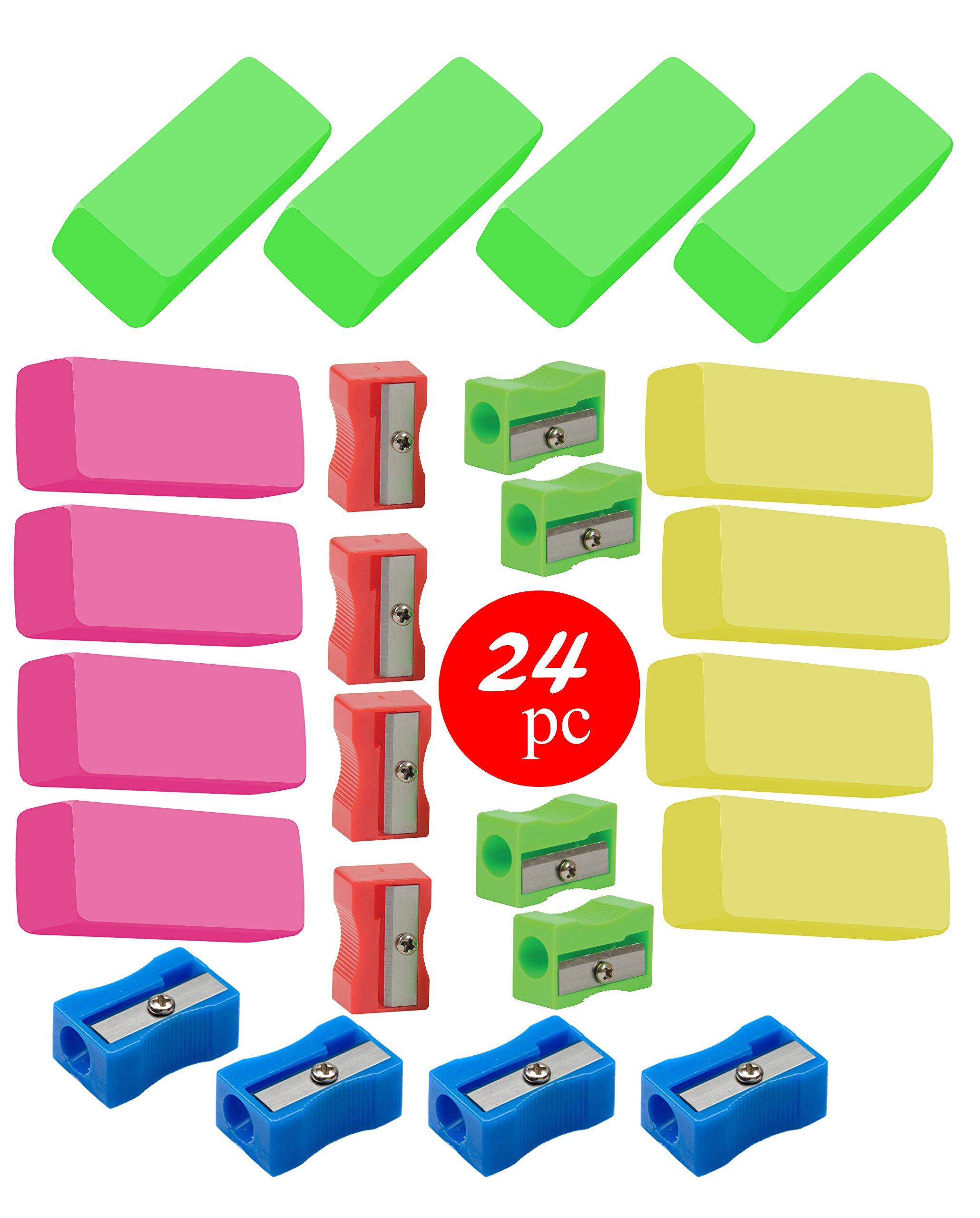 Classroom Pencil Sharpener and Eraser (24pc)