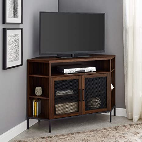 Walker Edison Modern Metal Mesh Wood Corner Universal Tv Stand With Open Shelves Cabinet Doors Storage For Tv S Up To 55 Flat Screen Living Room Storage Entertainment Center 48 Inch Walnut