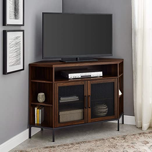 Amazon Com Walker Edison Modern Metal Mesh Wood Corner Universal Tv Stand With Open Shelves Cabinet Doors Storage For Tv S Up To 55 Flat Screen Living Room Storage Entertainment Center 48 Inch Walnut