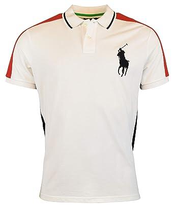 17b32c5dc3e2 Ralph Lauren Polo Mens Custom Slim Fit Big Pony Mesh Polo Shirt - White -  XXL  Amazon.co.uk  Clothing