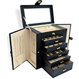 AKOZLIN Large Jewelry Box Organizer Functional Huge Lockable, Leather Jewelry Storage Case for Women Girls Ring Necklace…