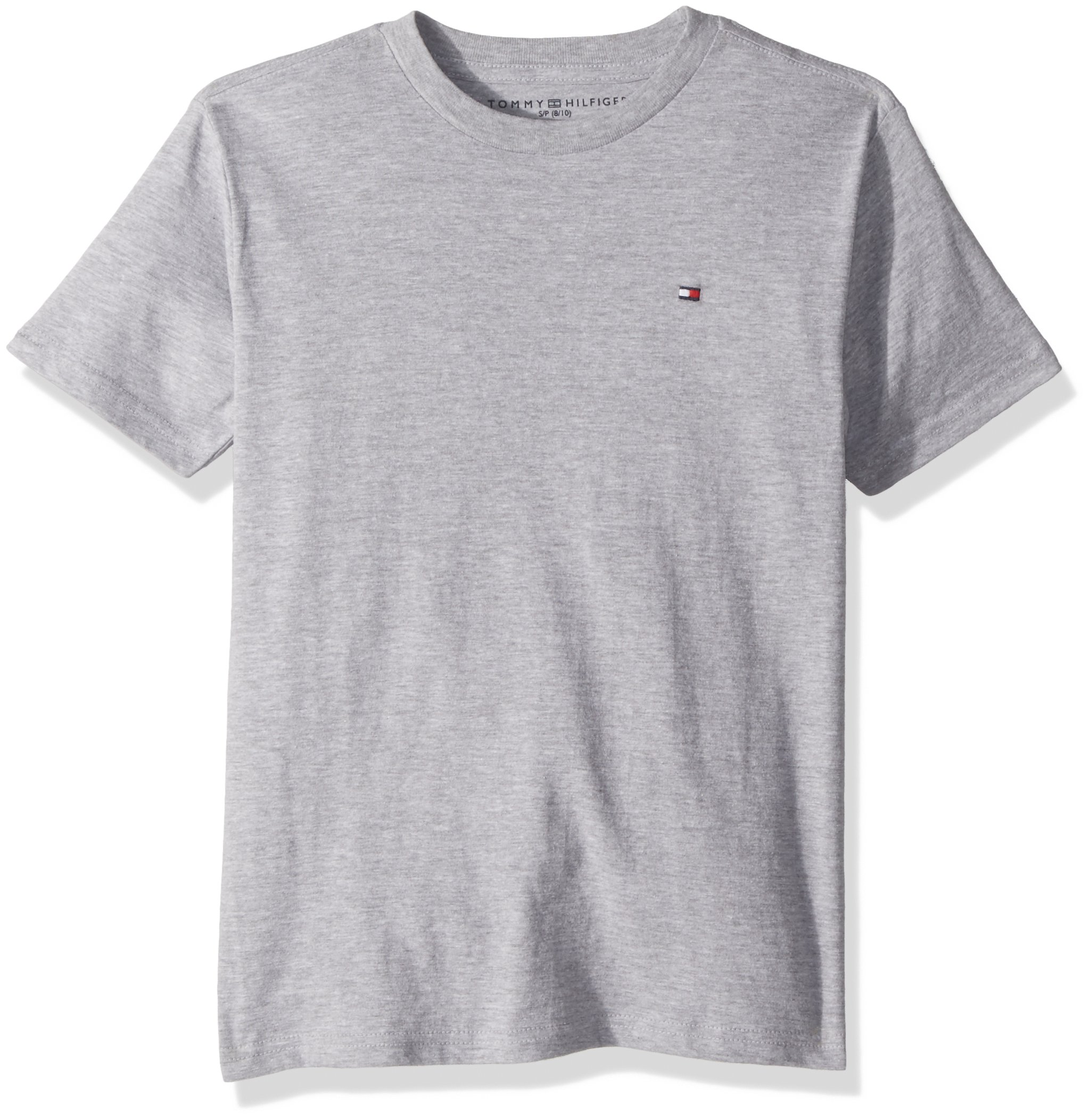 Tommy Hilfiger Boys' Little Short Sleeve Solid Crew-Neck T-Shirt, Grey Heather 7