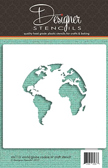 Amazon.com: World Map (Globe) Cookie and Craft Stencil CM113 by ...