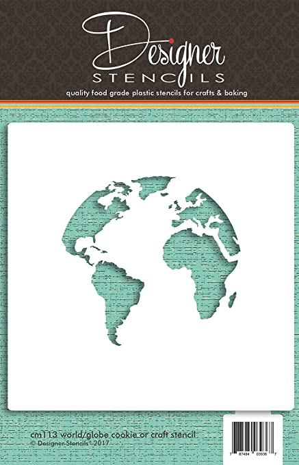 Amazon Com World Map Globe Cookie And Craft Stencil Cm113 By