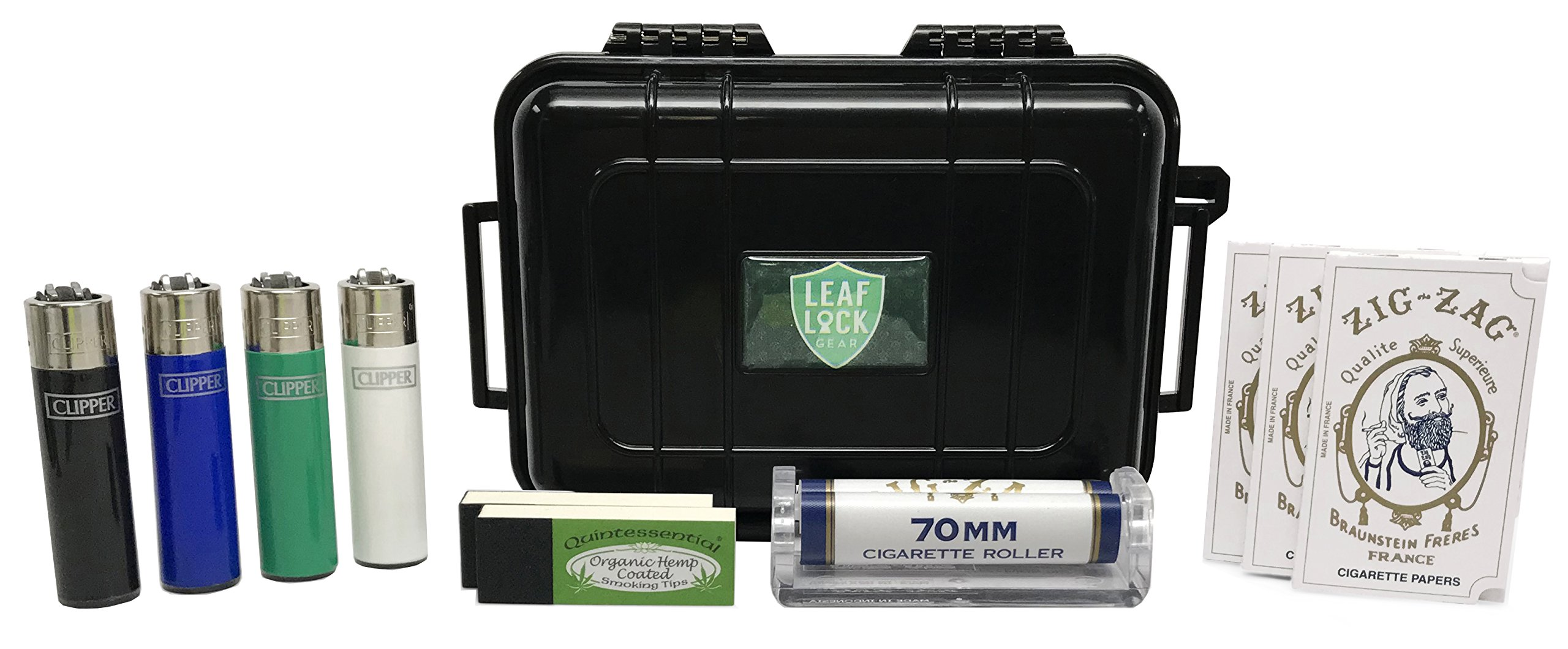 Zig Zag White Rolling Papers (3 Pack), Zig Zag 70mm Roller, Quintessential Rolling Tips (2 Pack), Leaf Lock Gear Travel Case, with Short Solid Color Clipper Lighers - 11 Item Bundle by Zig Zag, Leaf Lock Gear (Image #1)