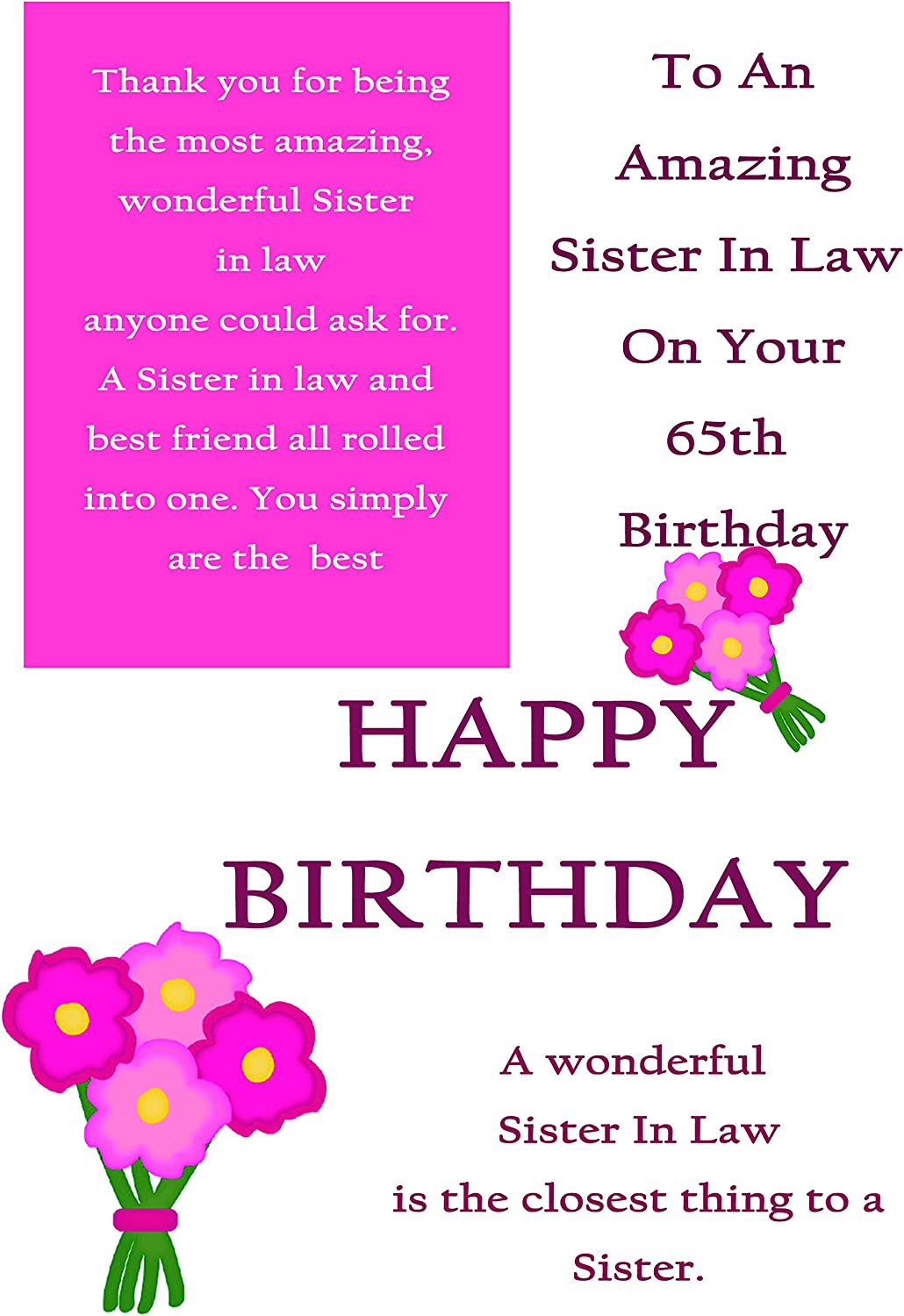 Sister In Law 65th Birthday Card With Removable Laminate Amazon Co Uk Office Products