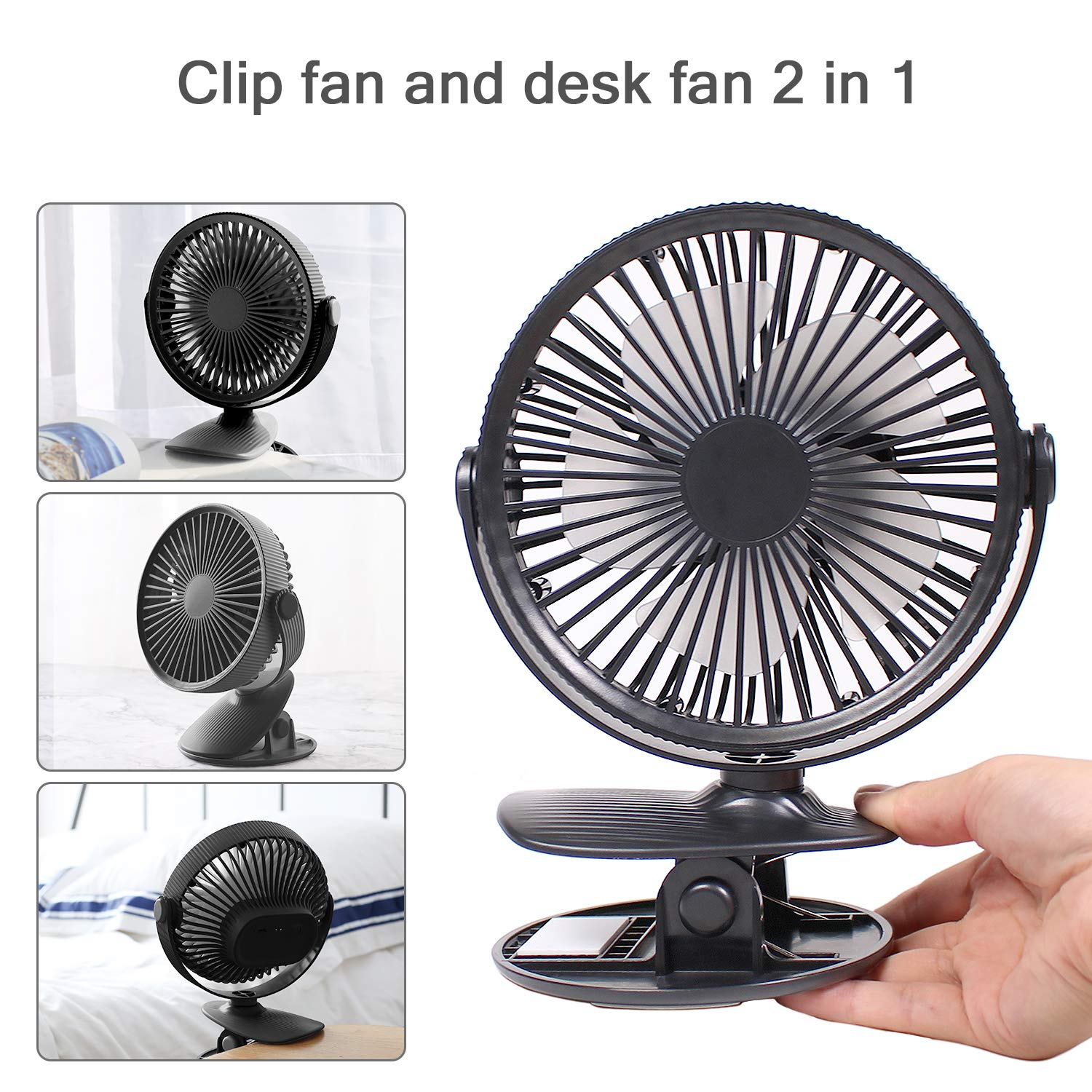 MADETEC Small Desk Clip Fan, Battery Operated Oscillating Fan Mini USB Portable Personal Cooling Fan for Stroller Home Office Bedroom Outdoor