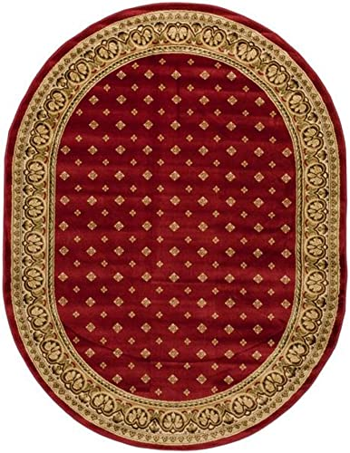 Noble Palace Red French European Formal Traditional Area Rug 5×7 5'3″ x 6'10″ Easy to Clean Stain Fade Resistant Shed Free Modern Contemporary Floral Transitional Soft Living Dining Room Rug
