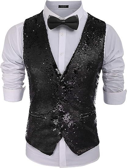 PYJTRL Mens Fashion Full Sequins Paillette Waistcoat