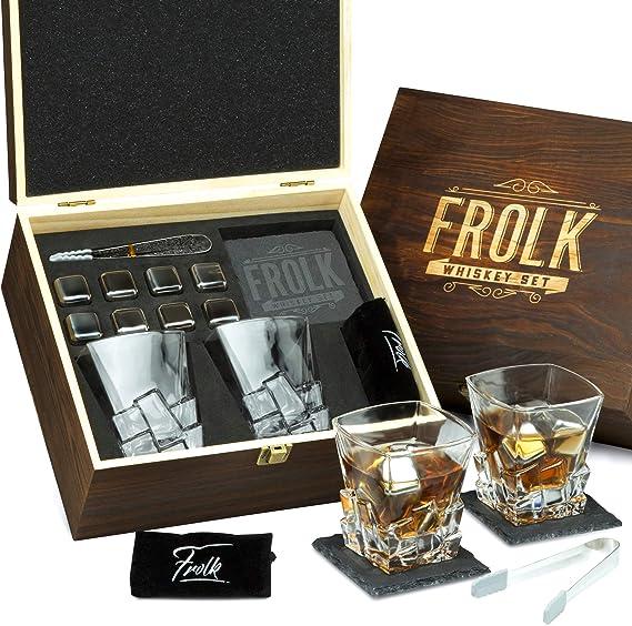 Whiskey Stones Gift Set for Men - 8 Chilling Stainless-Steel Whiskey Cubes