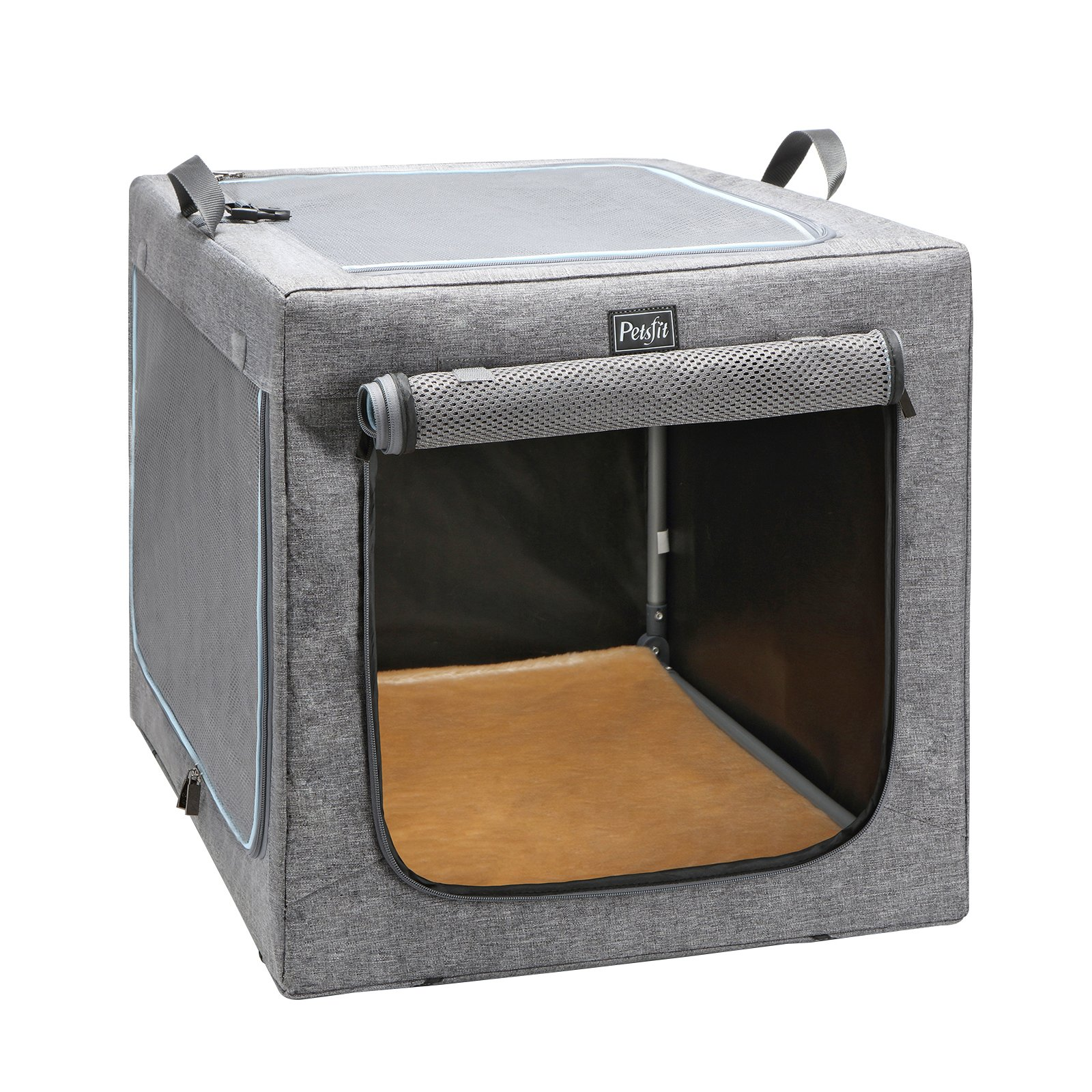 Petsfit 30x20x19 Inches Travel Pet Home Indoor/Outdoor for Medium Dog Steel Frame Home,Collapsible Soft Dog Crate(Gray) by Petsfit