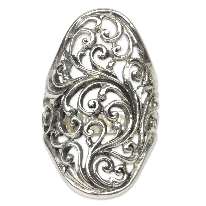 NOVICA Ornate .925 Sterling Silver Handcrafted Cocktail Ring Sukawati Fern