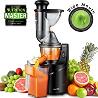 """Juicer Machine Masticating Slow Juicer Extractor,  Aicok 3"""" Wide Mouth Whole Masticating Juicer with Juice Jug and Brush, Quiet Motor and High Nutrient for Fruit and Vegetable Juice"""