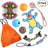 Dog toys 8 Pack Gift Set Dog Chew Toys Puppy Rope Toys for Teething and Daily Playing, Dog Frisbee,IQ Treat Ball and Squeak Toy included, Great for Medium to Small Dogs