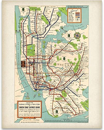 Subway Map New York For Print.New York Subway Map 1948 11x14 Unframed Art Print Great Vintage Home Decor Under 15