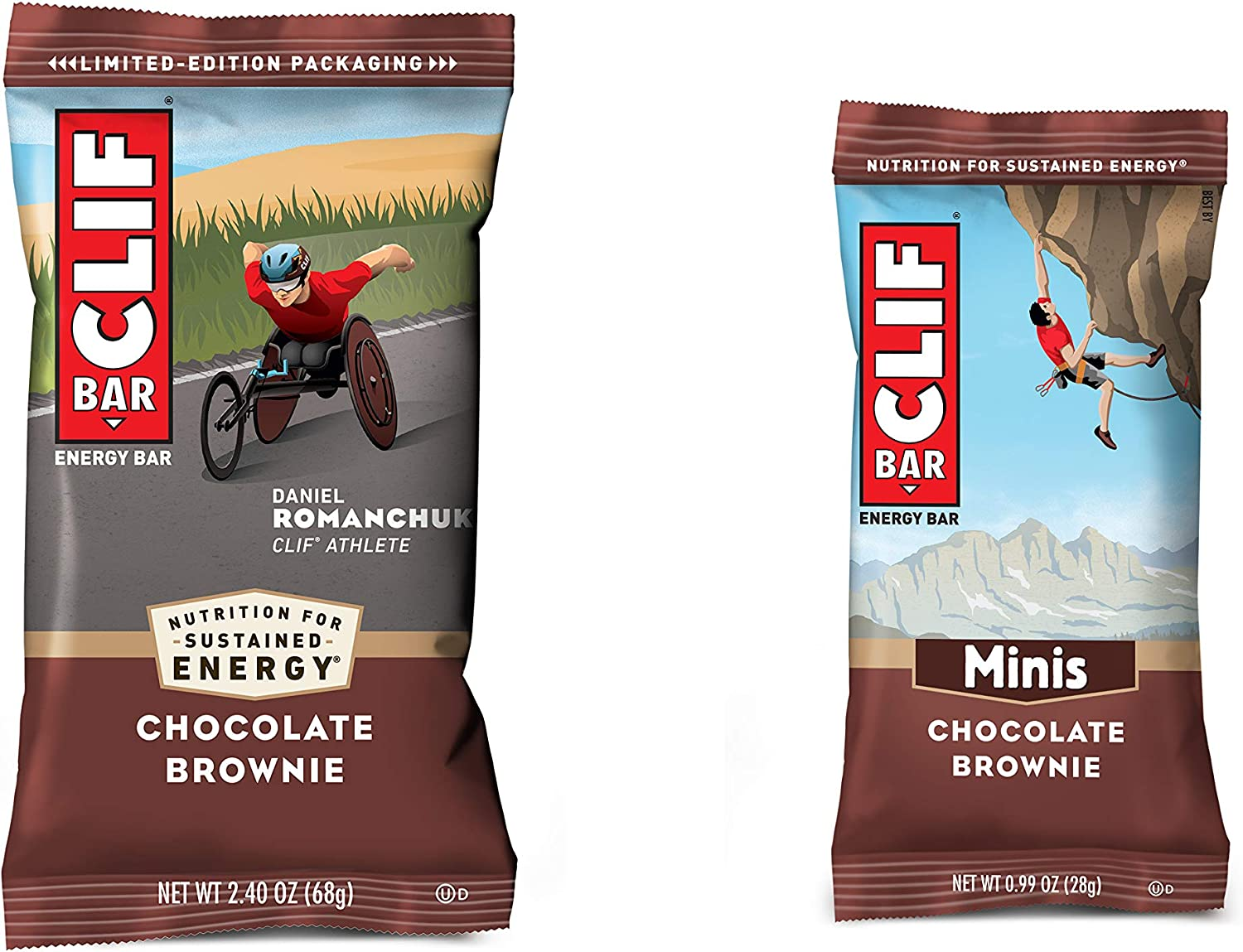 Clif Bars - Chocolate Brownie - 10 Full Size and 10 Mini Energy Bars - Made with Organic Oats - Plant Based Food - Vegetarian - Kosher (2.4oz and 0.99oz Protein Bars, 20 Count)