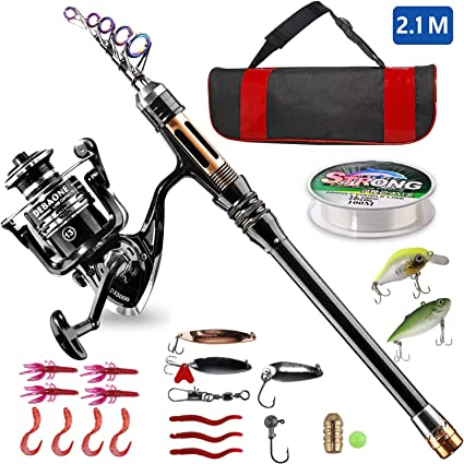 Amazon Com Bluefire Fishing Rod Kit Carbon Fiber Telescopic Fishing Pole And Reel Combo With Spinning Reel Line Lure Hooks And Carrier Bag Fishing Gear Set For Beginner Adults Saltwater Freshwater 2 1m