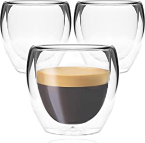 Youngever 3 Pack Espresso Cups, Double Wall Thermo Insulated Espresso Cups, Glass Coffee Cups, 5 Ounce