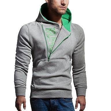 BRUBAKER Herren Label Sweatshirt mit Kapuze Hellgrau Melange / Grün Größe M