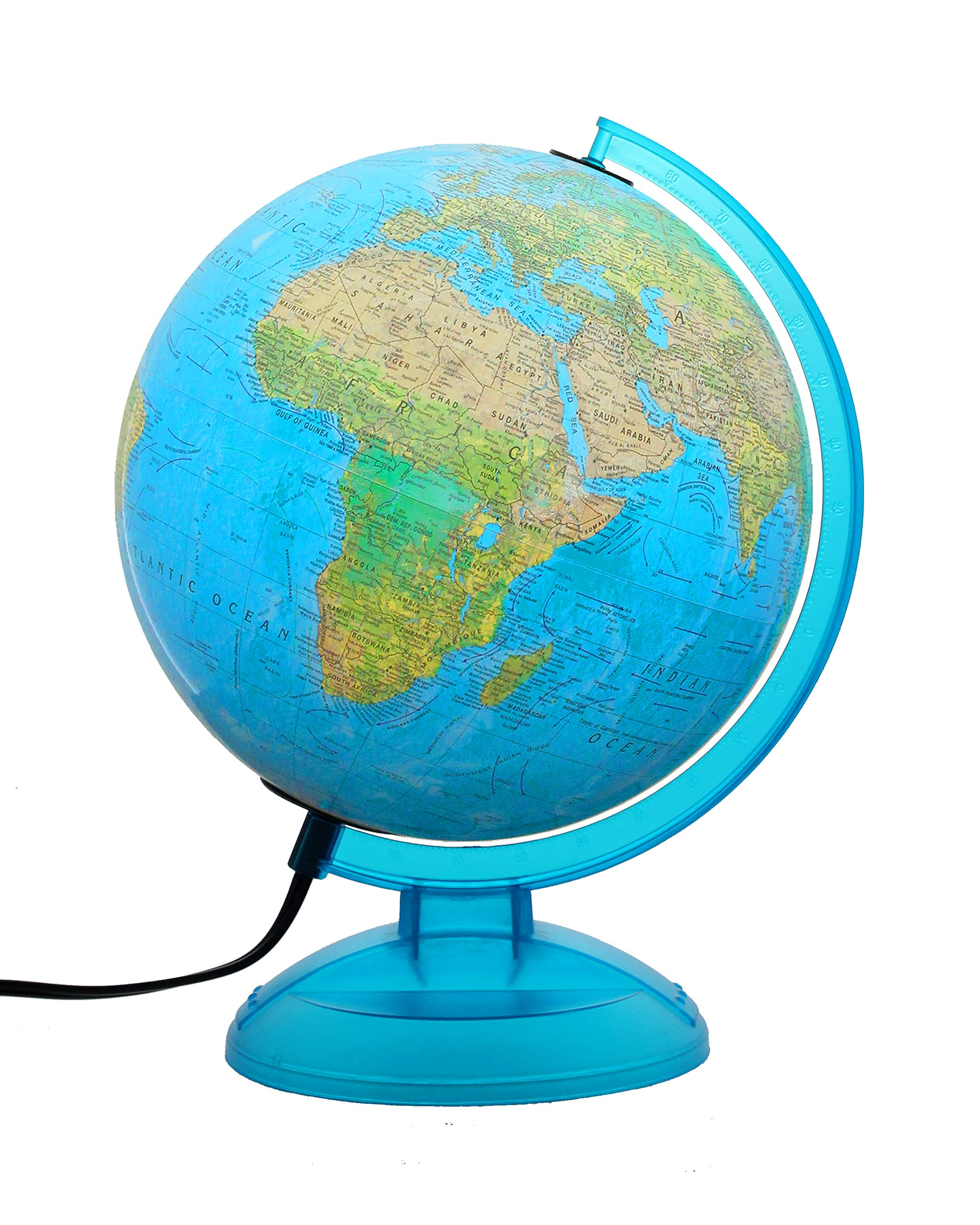 Replogle 10'' Lisbon, Blue Illuminated World Globe with Two Way map, Made in USA