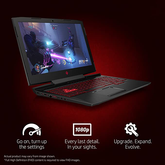 HP OMEN 15-CE011DX 15 6in Gaming Laptop, Intel Core i7-7700HQ/2 80G  Quad-Core, 1TB 7200RPM MR, 8GB, 802 11ac, BT, WEBCAM NVIDIA-GEFORCEGTX1050,  W10H