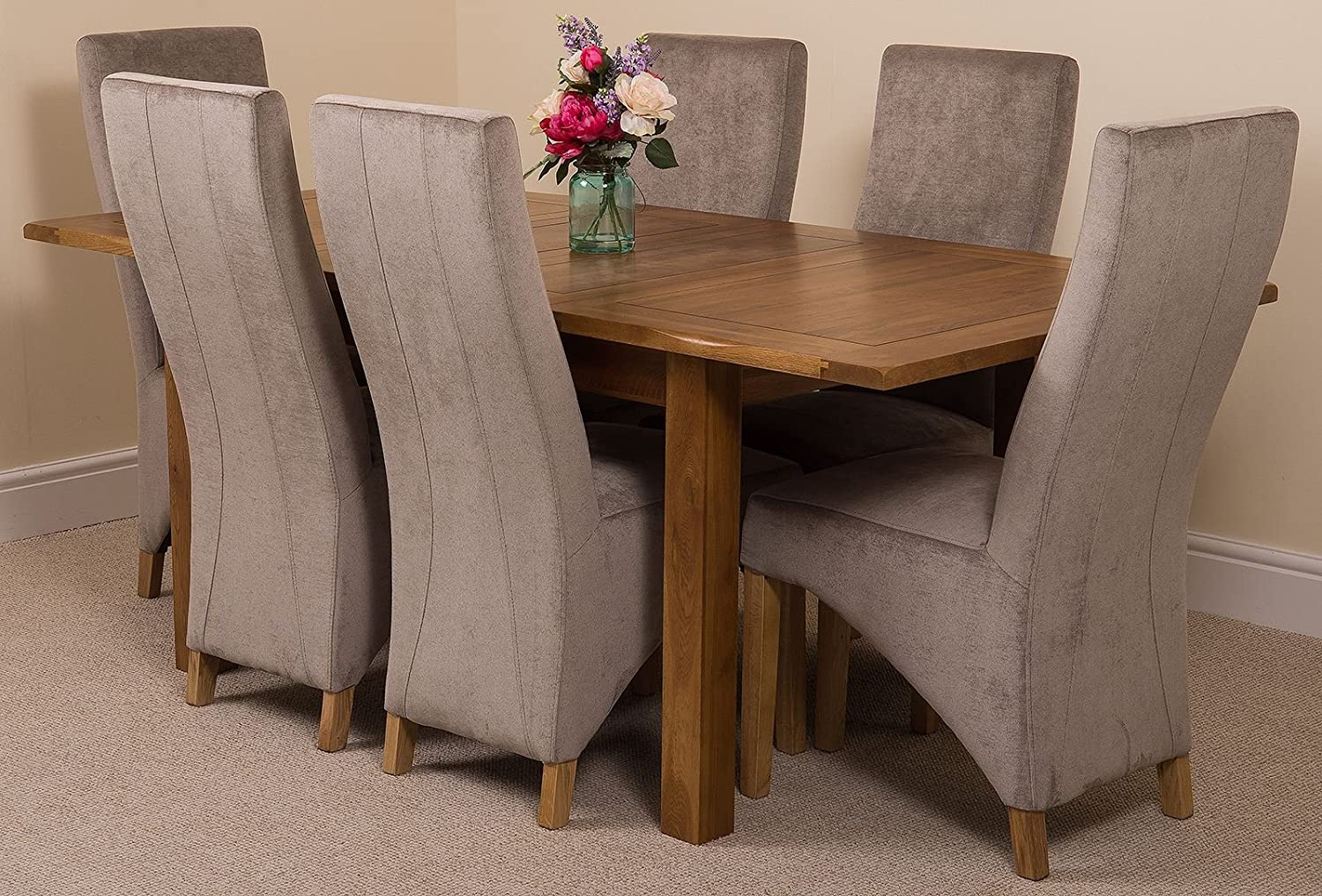 Modern Furniture Direct Cotswold Rustic 132cm 198 Cm Dark Oak Extending Dining Table And 6 Chairs Dining Set With Lola Grey Fabric Chairs Amazon Co Uk Kitchen Home