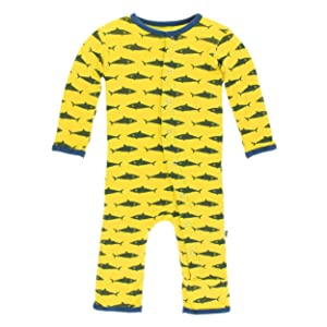 Kickee Pants Little Boys Print Coverall with Snaps - Lemon Shark, 18-24 Months
