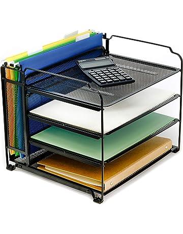 Desktop File Holder Organiser Office Document Files Books Storage Box Desktop Organizer Holder Color : Black, Size : 308x249x91mm