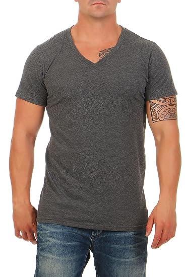 80eb77d1530d96 Happy Clothing Herren T-Shirt V-Ausschnitt Meliert Comfort Bügelfrei   Amazon.de  Bekleidung