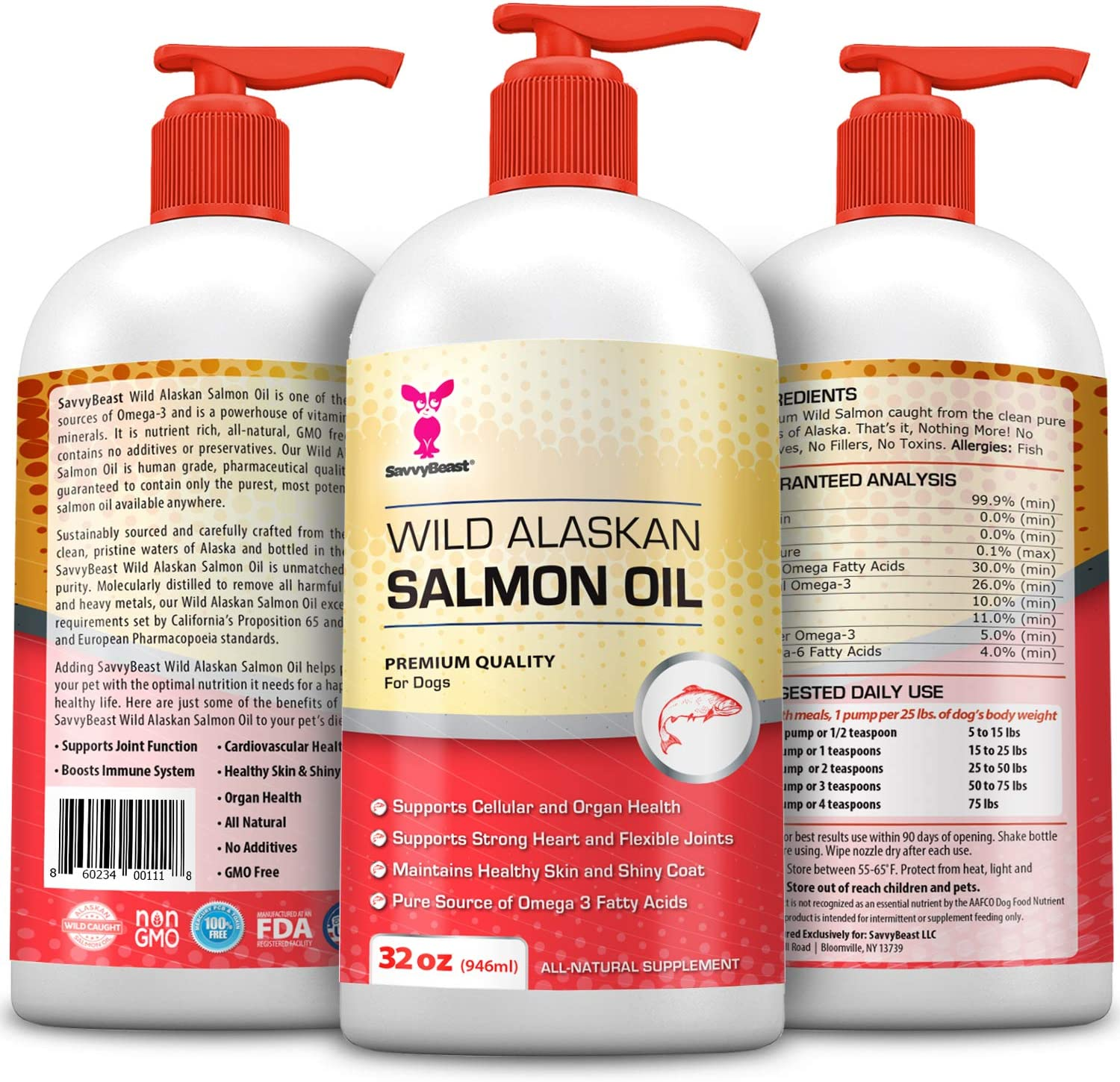 Wild Alaskan Salmon Oil for Dogs, Cats, Ferrets – 16 32oz Pure Unscented Liquid Omega 3 Fatty Acid Fish Oil for Dogs – EPA DHA supplement for Pets – Helps Joints, Dry Skin, Coat – Just Pump on Food