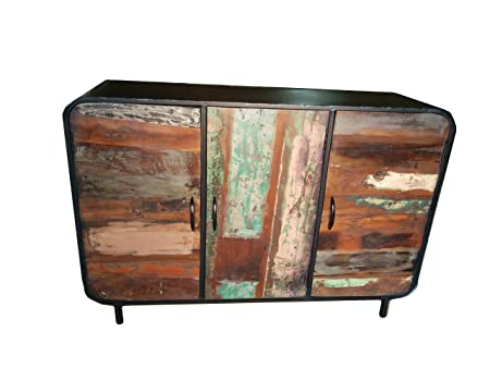 unique industrial furniture. Large Sideboard Cabinet Reclaimed Wood Retro Vintage Industrial Furniture Unique 3 Door Multi Colour Rustic Echo