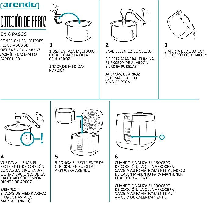 arendo - Arrocera vaporera - Función de cocción al Vapor: Amazon ...