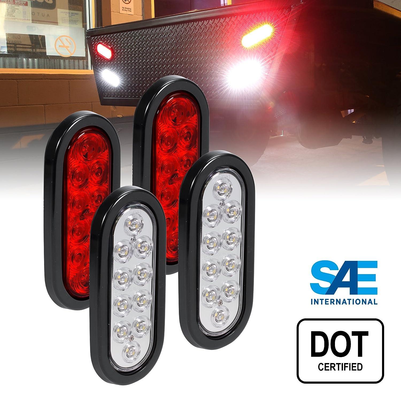2 RED + 2 White 6' Oval LED Trailer Tail Light Kit - DOT Certified Stop Turn Brake Reverse Back UP Tail Light ONLINE LED STORE 4333007779