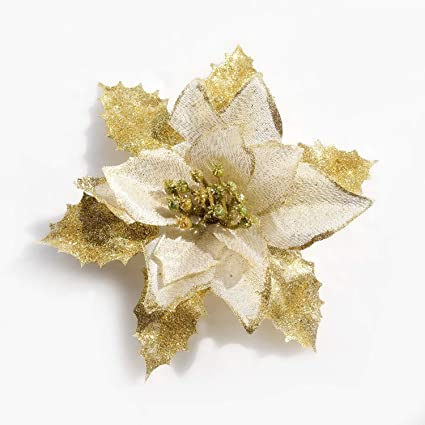 mobuy christmas ornaments glitter poinsettia christmas decorations for trees8pack gold
