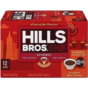 Hills Bros Single Serve Coffee Pods, Gourmet Medium Roast - 100% Premium Arabica Coffee - Compatible with Keurig K-Cup Brewers (12 Count)
