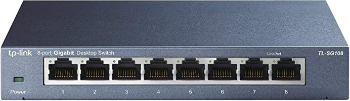 TP-Link TL-SG108 8-Port 10/100/1000Mbps Desktop Gigabit Steel Cased Switch, IEEE 802.1p QoS, Up to 72% Power Saving