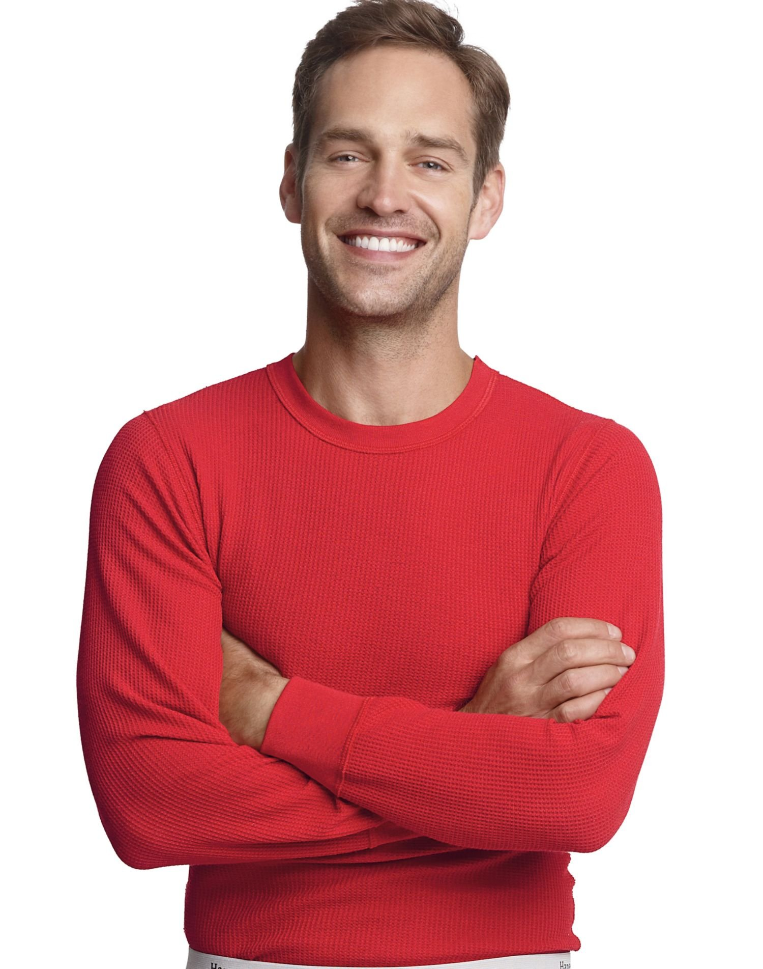 Hanes Mens X-temp Thermal Crew (Small, Red)