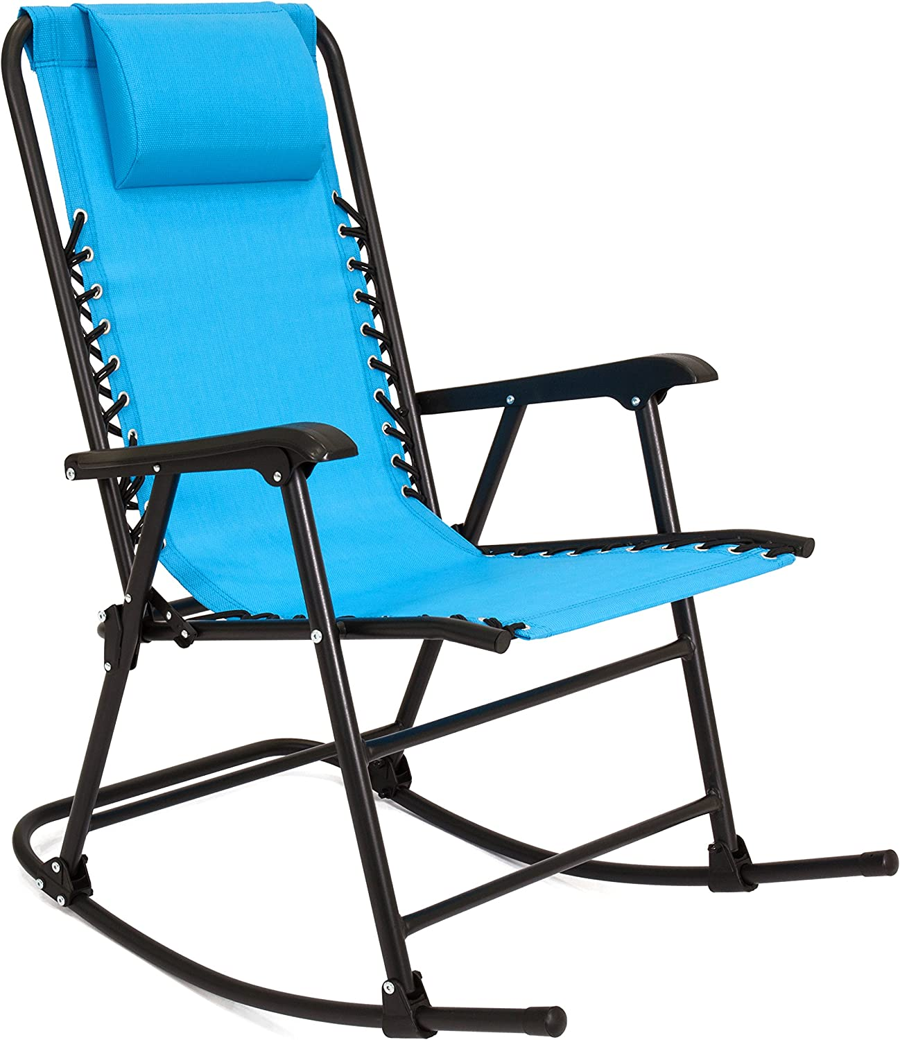 Best Choice Products Foldable Zero Gravity Rocking Mesh Patio Recliner Chair w/Headrest Pillow - Light Blue