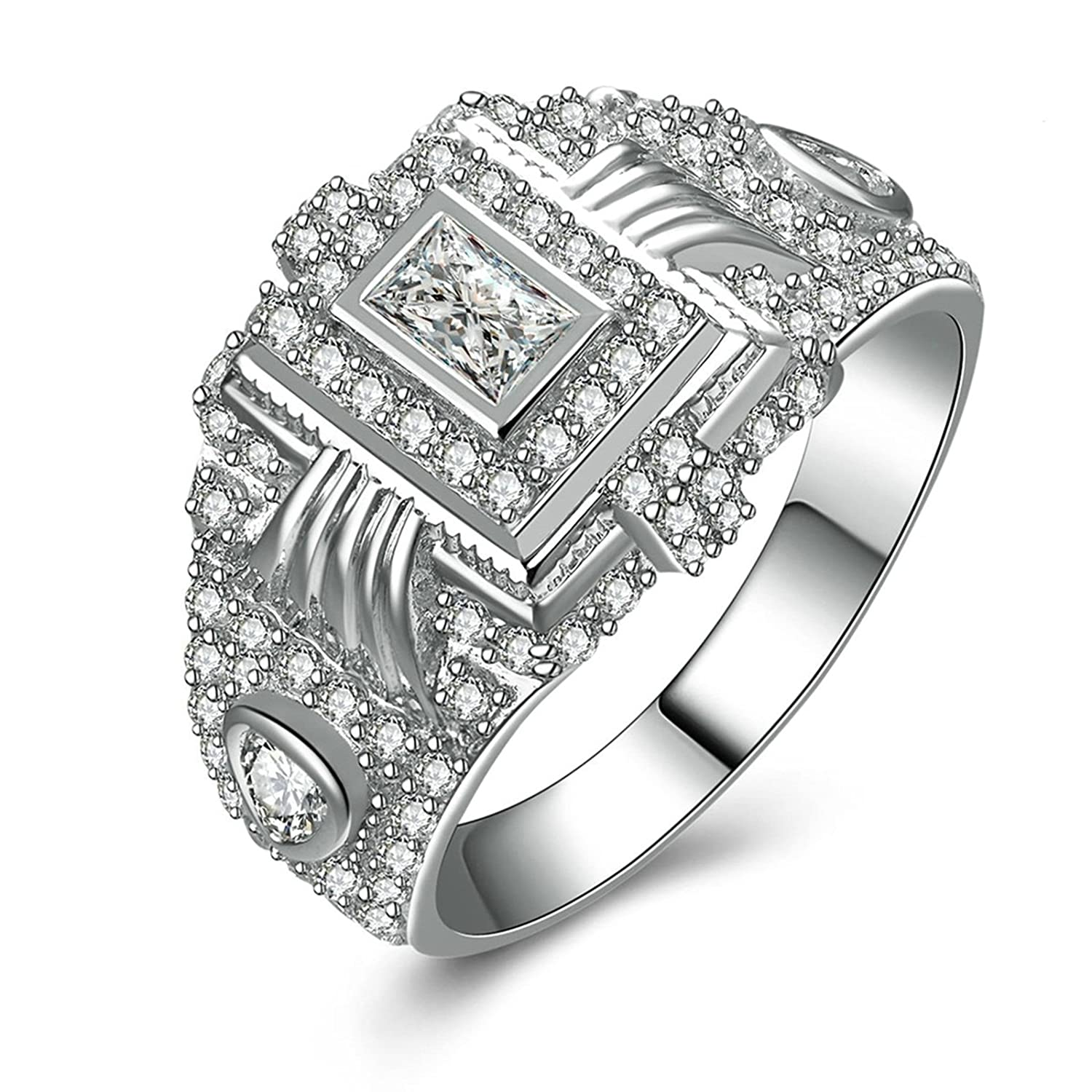 Aokarry 925 Sterling Silver Mens Promise Ring Engraved Princess /& Round White Cubic Zirconia Size 5-12