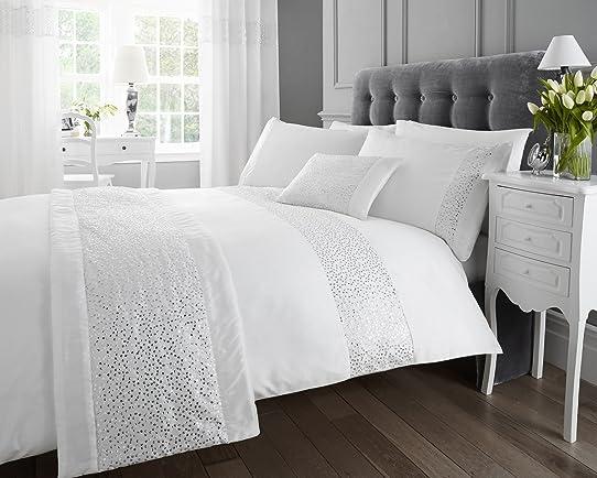 sequins blanc double lit housse de couette et taie doreiller 2 x parure de - Housse De Couette Moderne