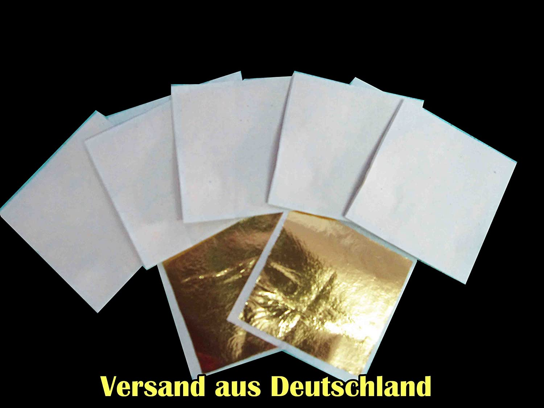 zum Basteln - Künstlerbedarf - Blattgold Blattmetall - 10er Set ca. 64x 64 mm Blattgold von Ning001
