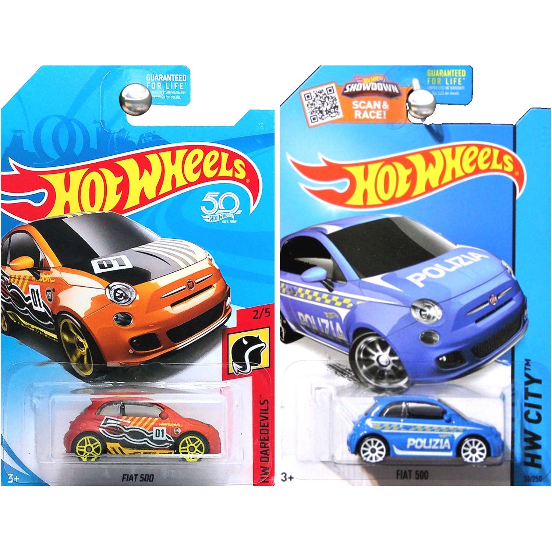 Amazon Com Hot Wheels Fiat 500 Blue Police Polizia And Matte Copper