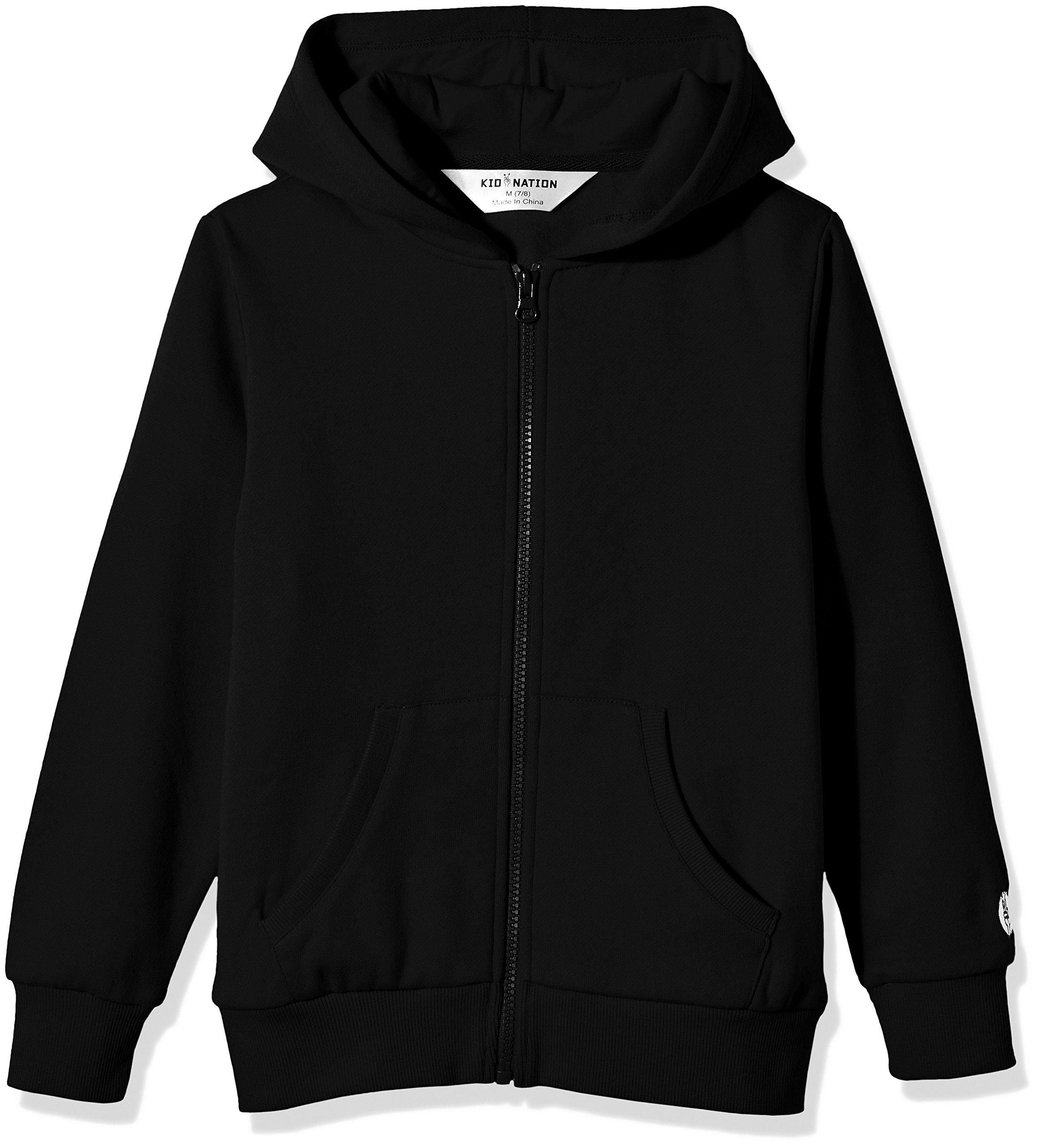 Kid Nation Kids' Brushed Fleece Zip-up Hooded Sweatshirt for Boys Girls M Black