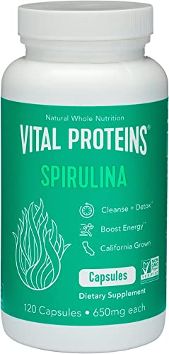 Spirulina Powder Pills 650mg 120 Capsules – Vital Proteins High in Vitamin A K, Vegan Friendly A
